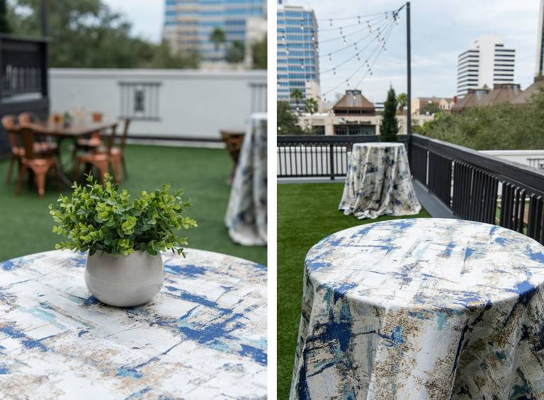 Downtown St. Pete Rooftop Wedding and Event Space Station House | Over the Top Rental Linens