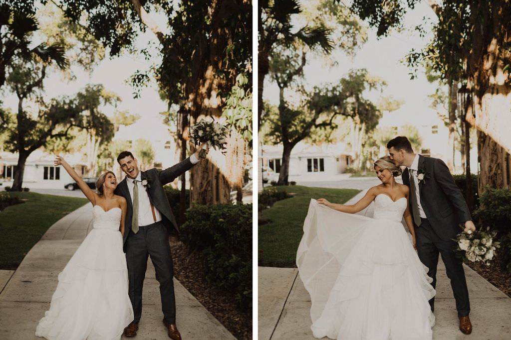 Fun Outdoor Tampa Bay Bride in Mikaella Lace and Mesh Tulle Strapless Sweetheart with Satin Belt Waist and Cascading Ruffle Skirt Wedding Dress, Groom in Gray Suit with Sage Green Tie
