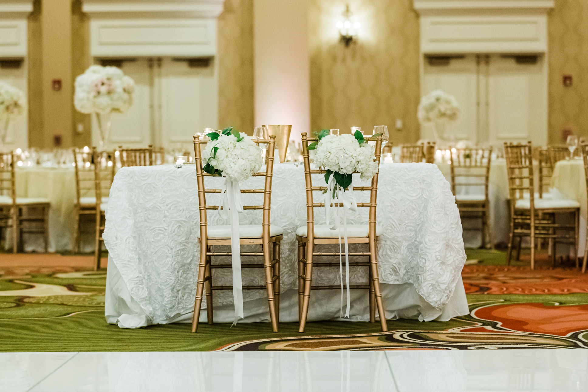 Elegant Ballroom Wedding Reception Decor, White Floral Table Linens on Sweetheart Table, Gold Chiavari Chairs, White Hydrangeas on Bride and Groom Chairs   Tropical Florida Waterfront Hotel Wedding Venue The Vinoy Renaissance St. Petersburg Resort and Golf Club