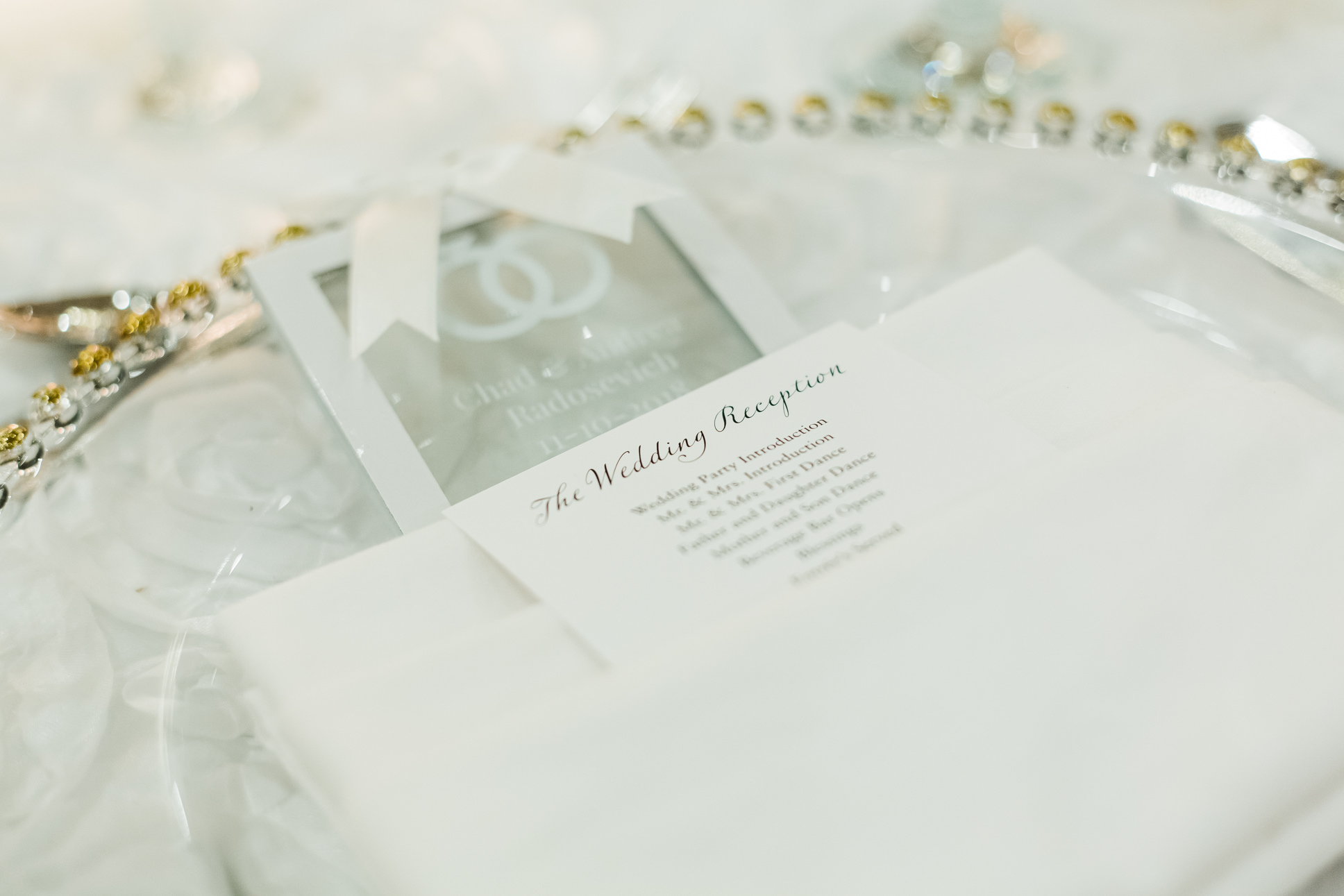 Classic Wedding Reception Program in White Linen on Gold Beaded Charger   Tampa Bay Wedding Stationery URBANcoast