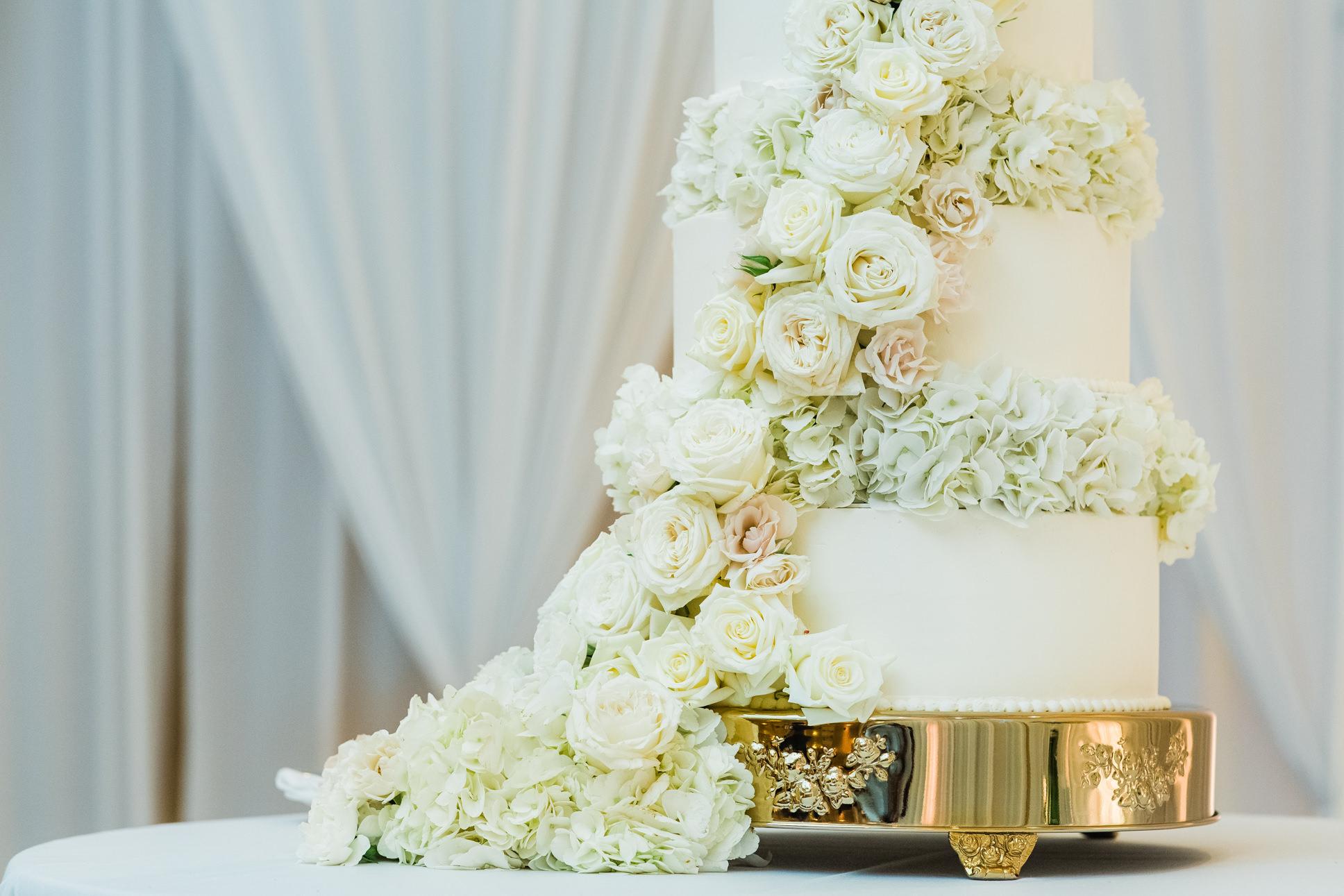 Classic Elegant White Wedding Cake with Lush Cascading White Hydrangeas, Ivory and Blush Pink Roses   Wedding Caterer and Cake St. Pete Vinoy Renaissance