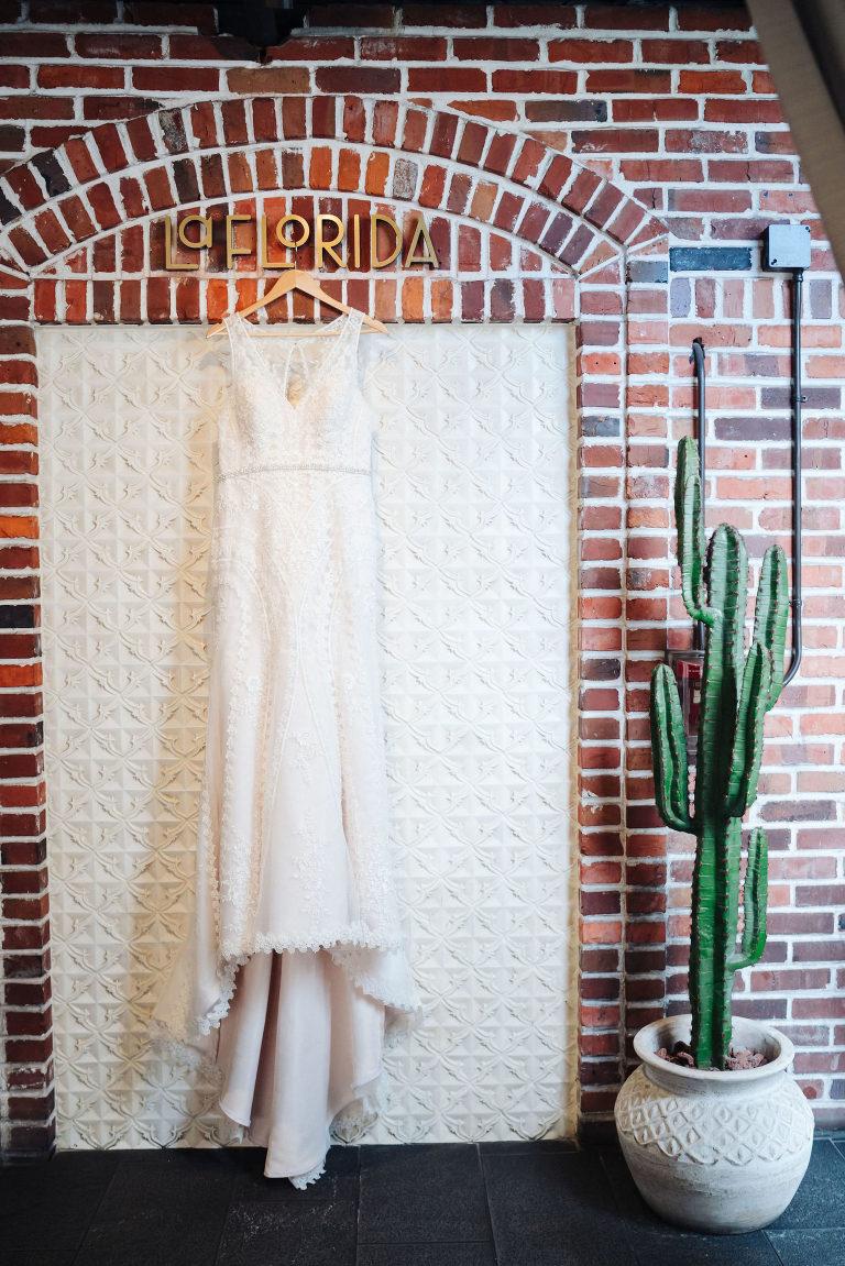 St. Petersburg Florida Wedding Venue Red Mesa Events | Lace Wedding Bridal Gown V Neck