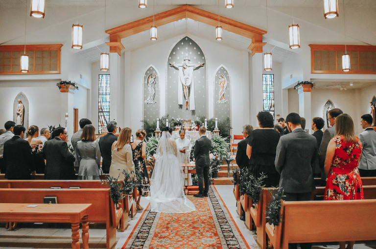 Classic Florida Bride and Groom During Catholic Church Service at St. Luke in Palm Harbor