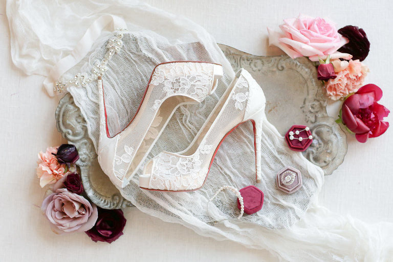 The Very Lace Christian Louboutin Off-White Mesh Peep Toe Red Bottom Wedding Shoes | Wedding Photographer Lifelong Photography Studios | Tampa Bay Wedding Planner Blue Skies Weddings and Events