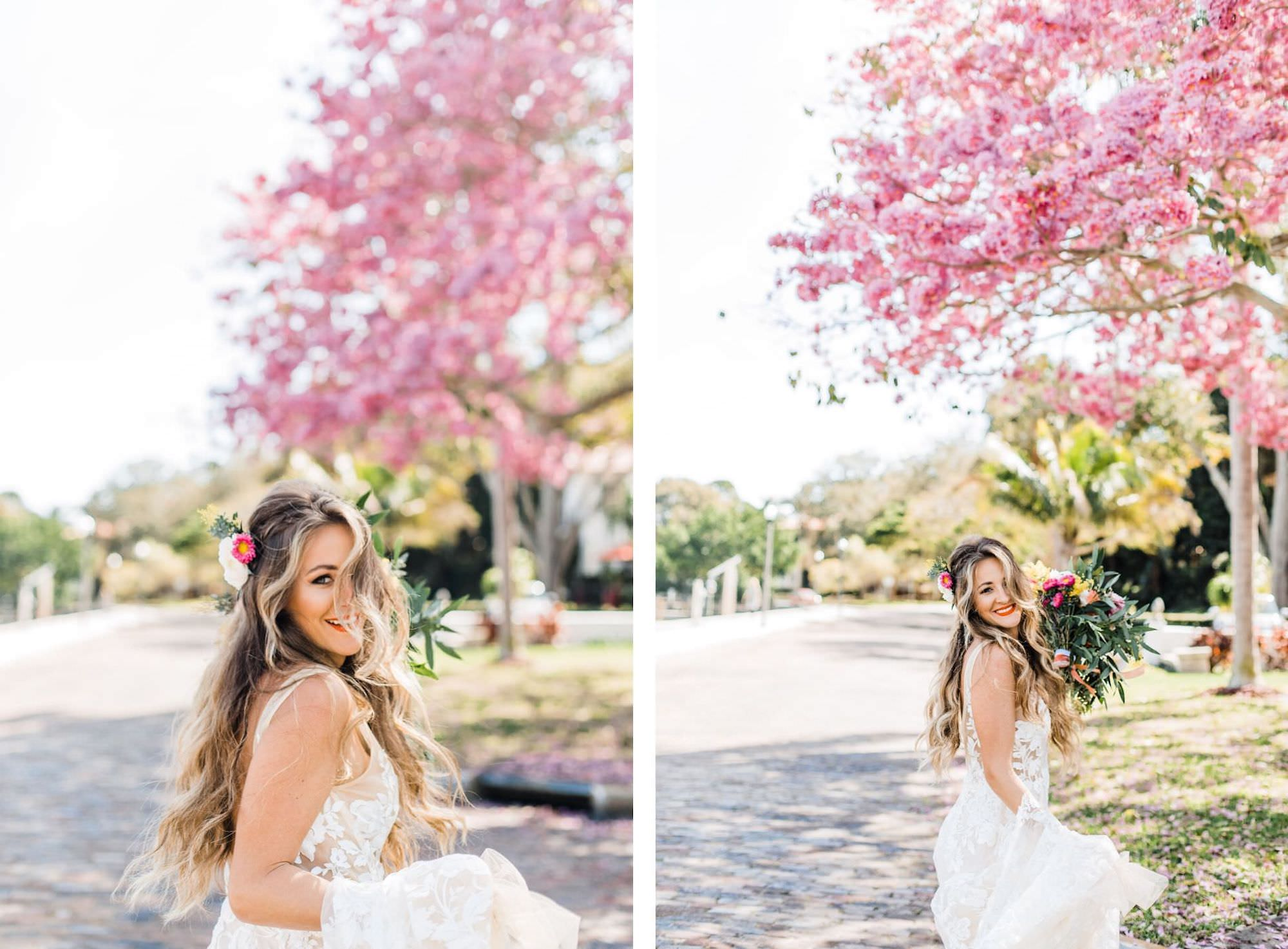 Boho Inspired Outdoor St. Pete Bridal Portrait with Natural Curls