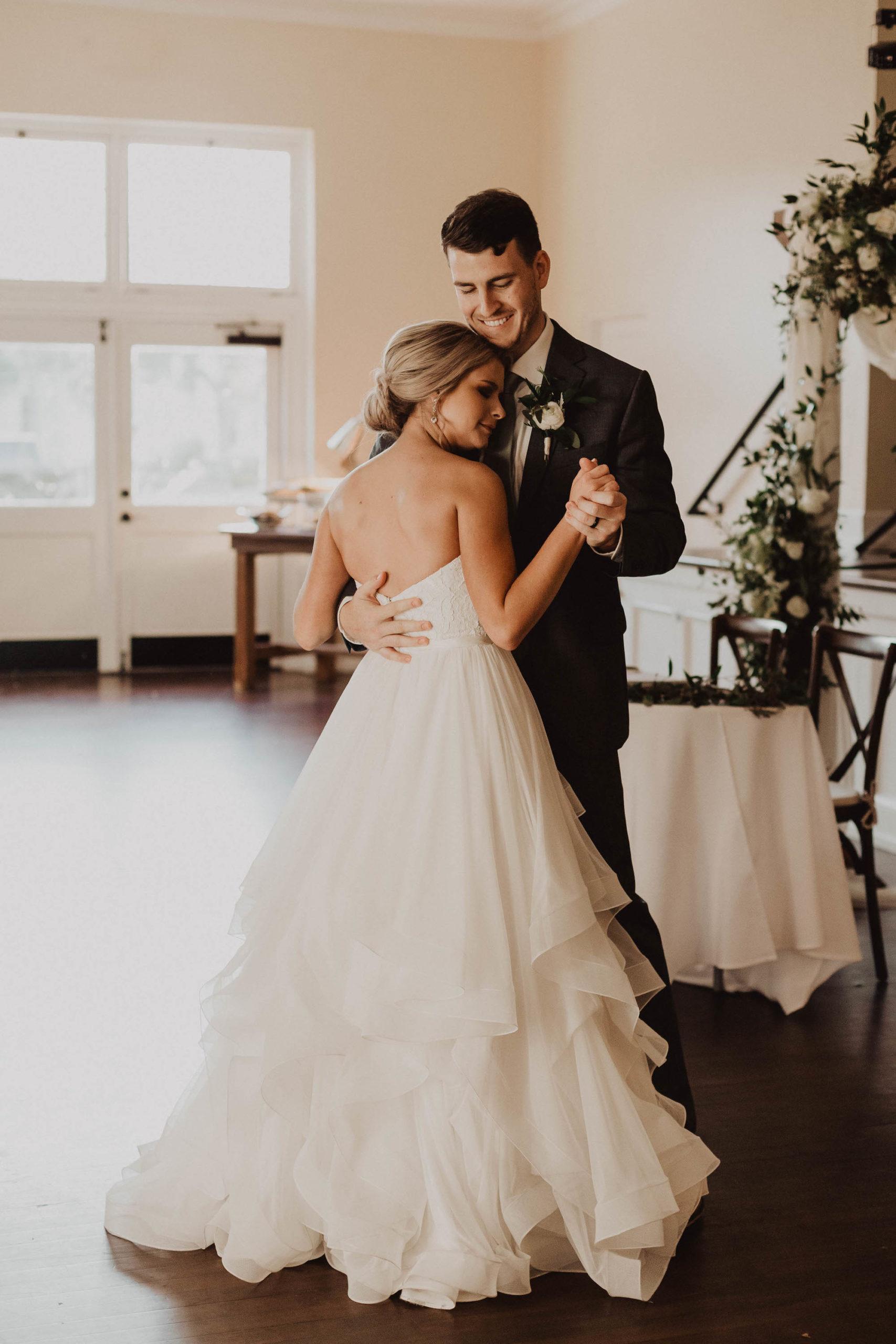 Romantic Bride and Groom First Dance Wedding Reception Portrait