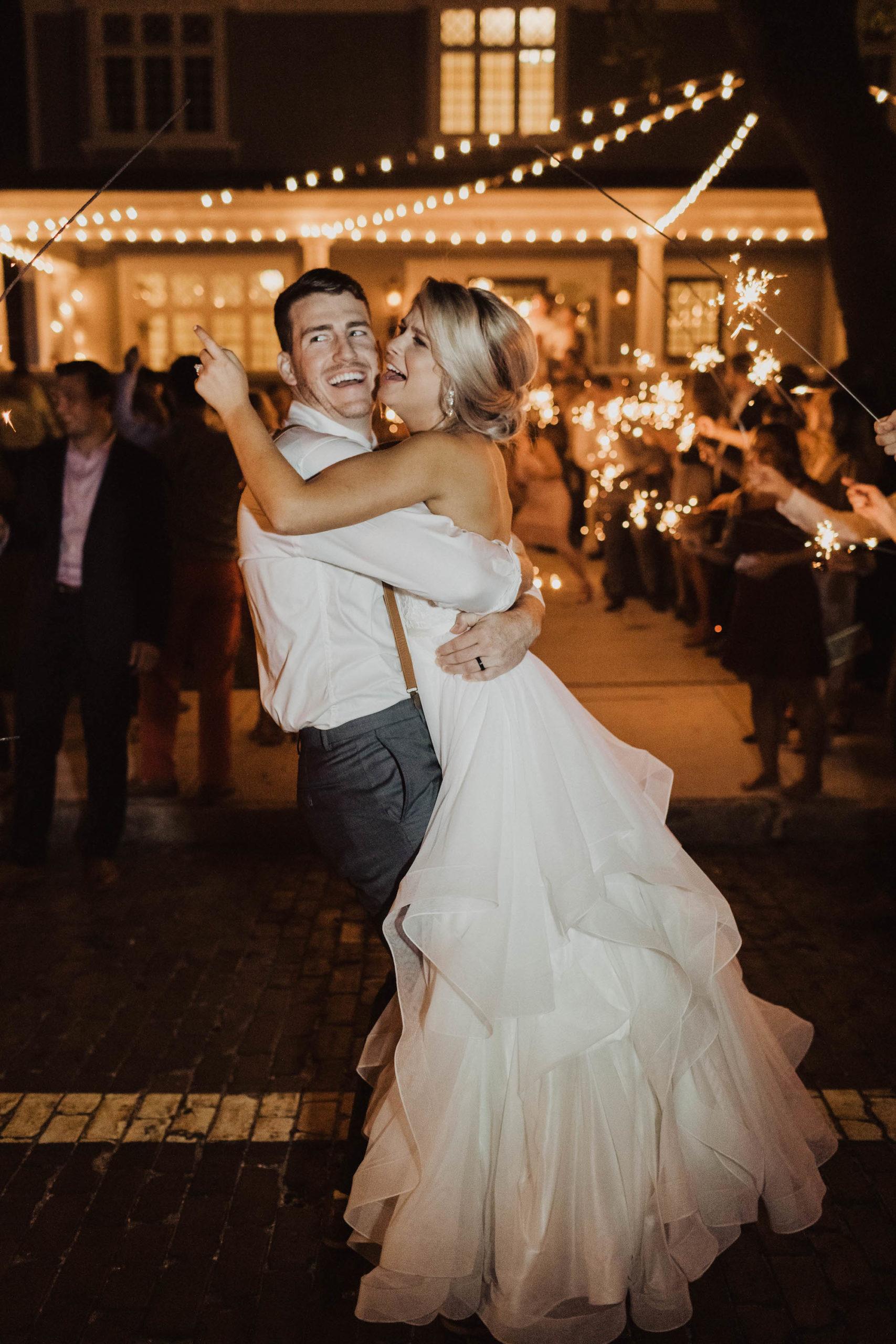 Fun Bride and Groom Sparkler Wedding Reception Send-Off Portrait | Tampa Bay Wedding Venue The Orlo