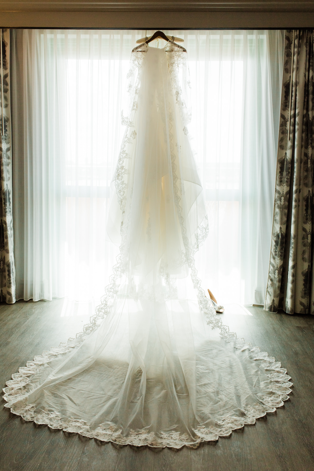 Hayley Paige Draped Organza Wedding Dress with Long Lace Train