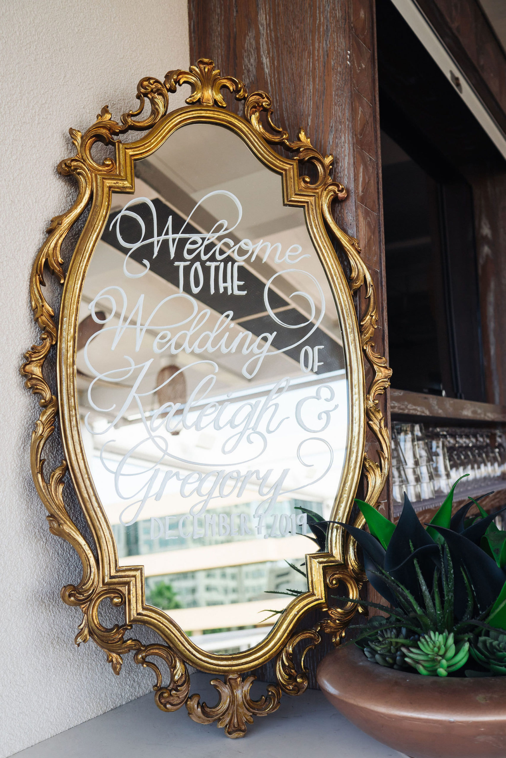 Wedding Welcome Sign Ornate Vintage Mirror Calligraphy
