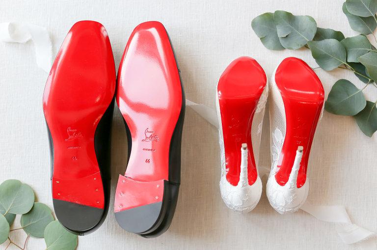 Christian Louboutin Bride and Groom Red Bottom Wedding Shoes | Wedding Photographer Lifelong Photography Studios