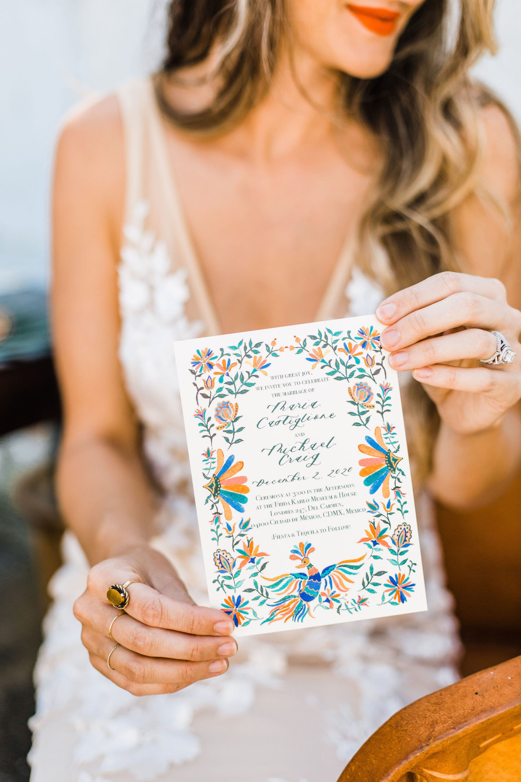 Mexican Inspired Colorful Wedding Invitation Portrait with Bride