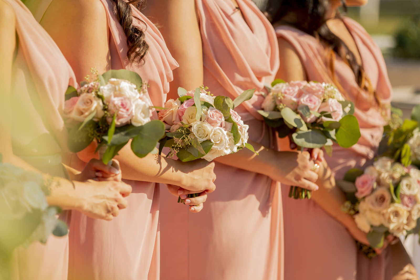 Peach, Ivory and Pink Bridesmaids Bouquet Flowers with Peach Dresses | Tampa Bay Wedding Florist Brides n' Blooms Wholesale Designs