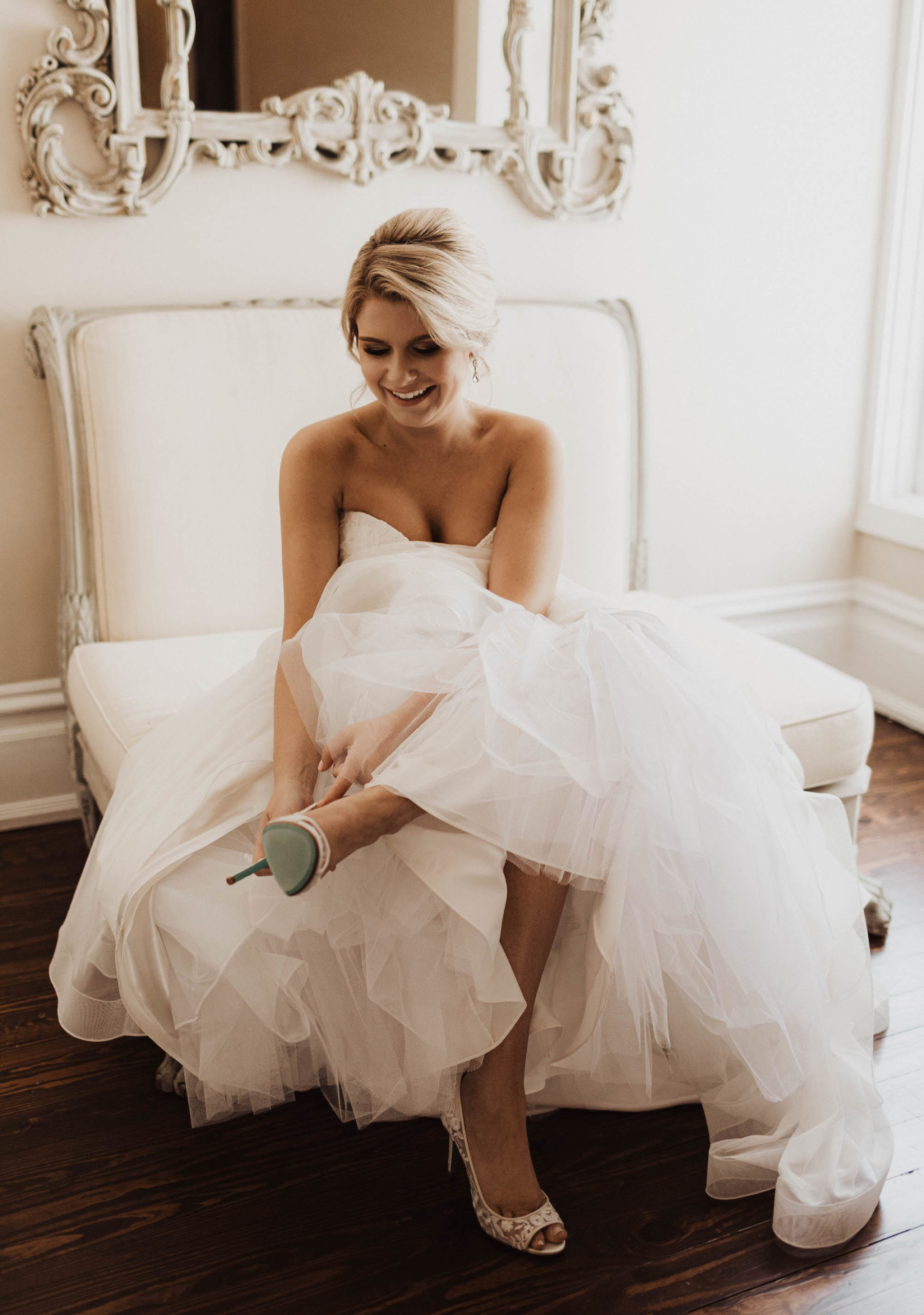 Tampa Bay Bride Getting Ready Putting on Shoes Beauty Wedding Portrait