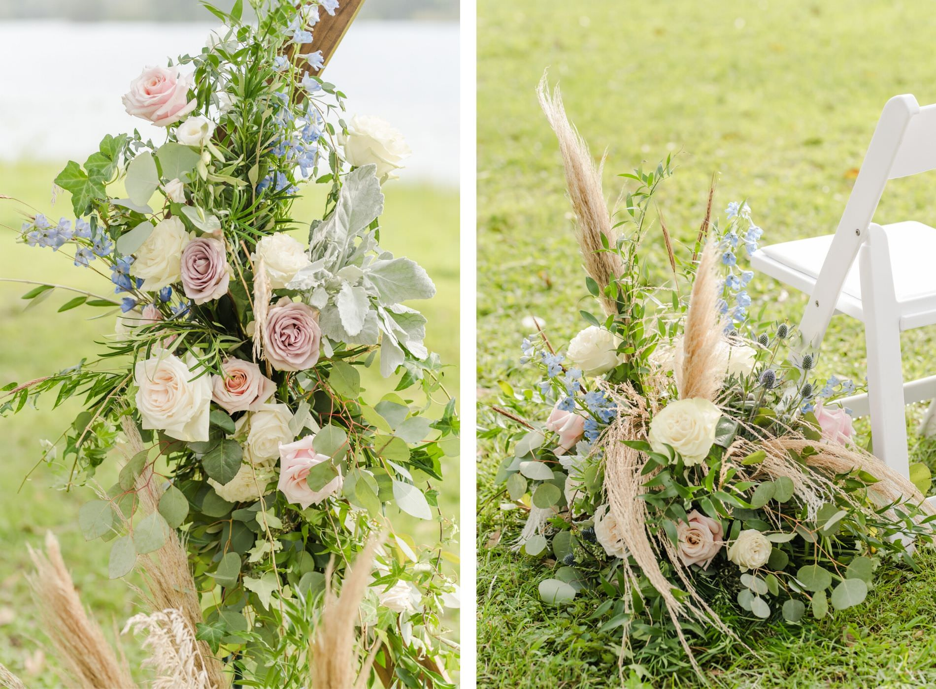 Whimsical Inspired Florida Wedding Ceremony Flowers and Decor, Dusty Rose Florals, Ivory Roses, Light Blue Flowers, Pompous Grass, with Eucalyptus Leaves Greenery