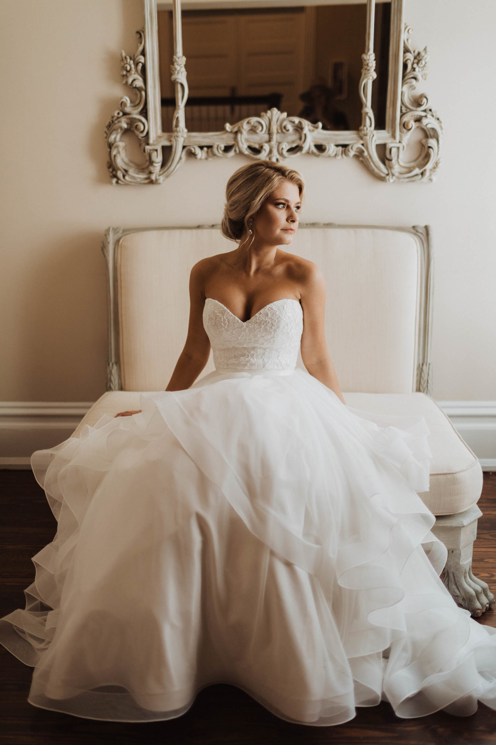 Tampa Bay Bride Beauty Wedding Portrait in Mikaella Lace and Mesh Tulle Ballgown Strapless Sweetheart Neckline Cascading Ruffles Wedding Dress