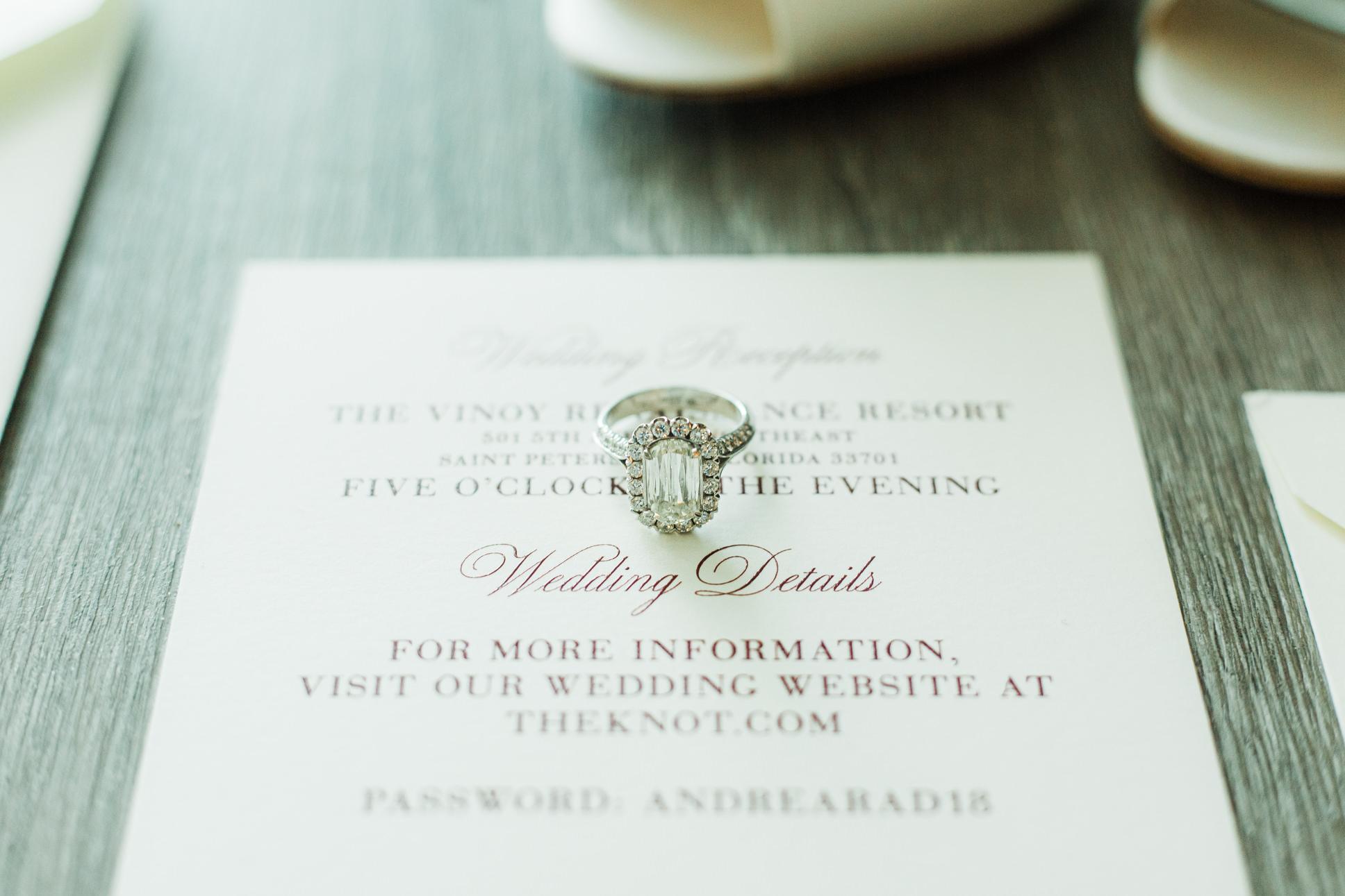 Cushion Cut Halo Engagement Diamond Ring on White and Red Wedding Invitation   Tampa Bay Wedding Stationery UBRANcoast
