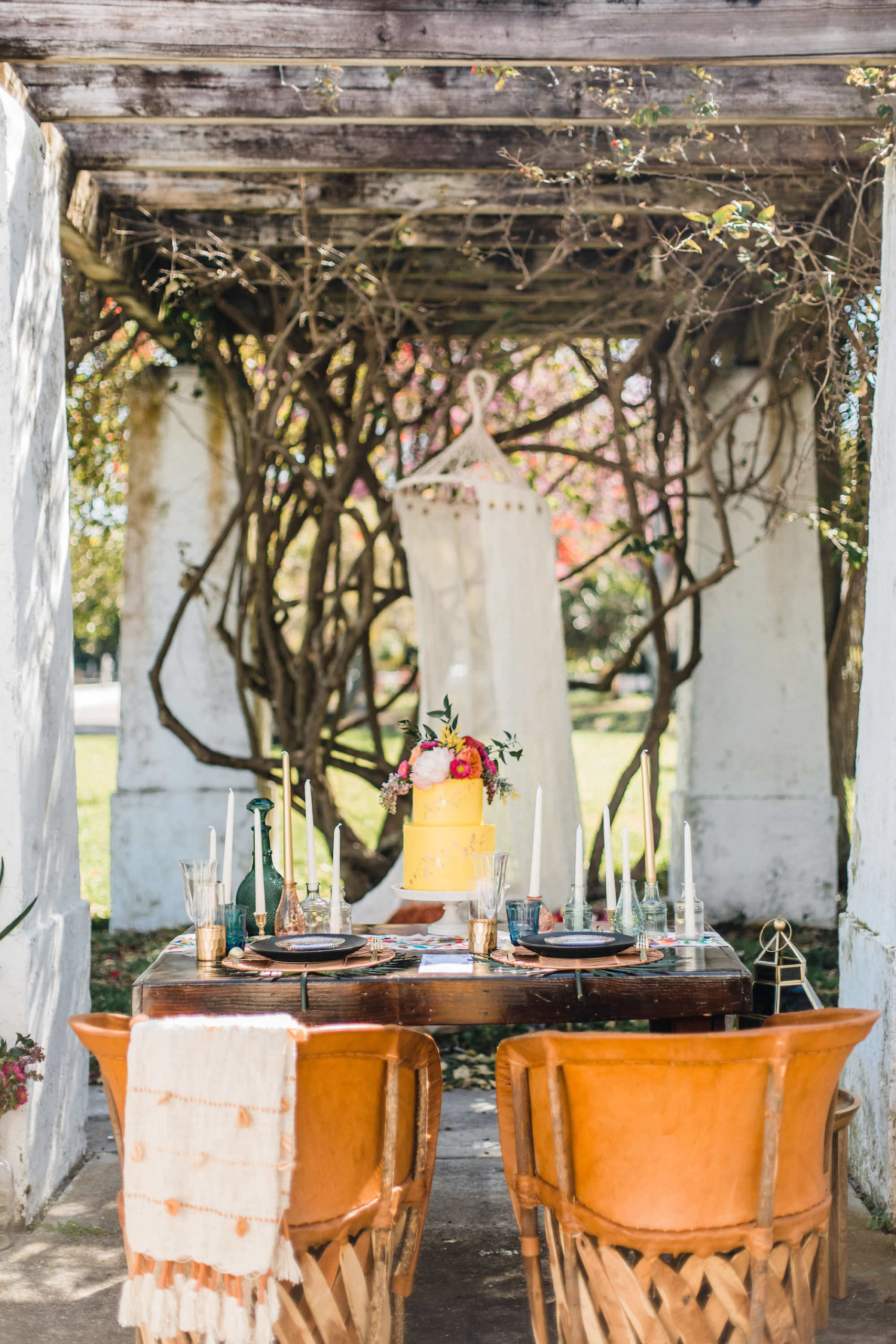 Mexican Inspired Colorful St. Pete Wedding Styled Shoot with Boho Chic Wooden Chairs