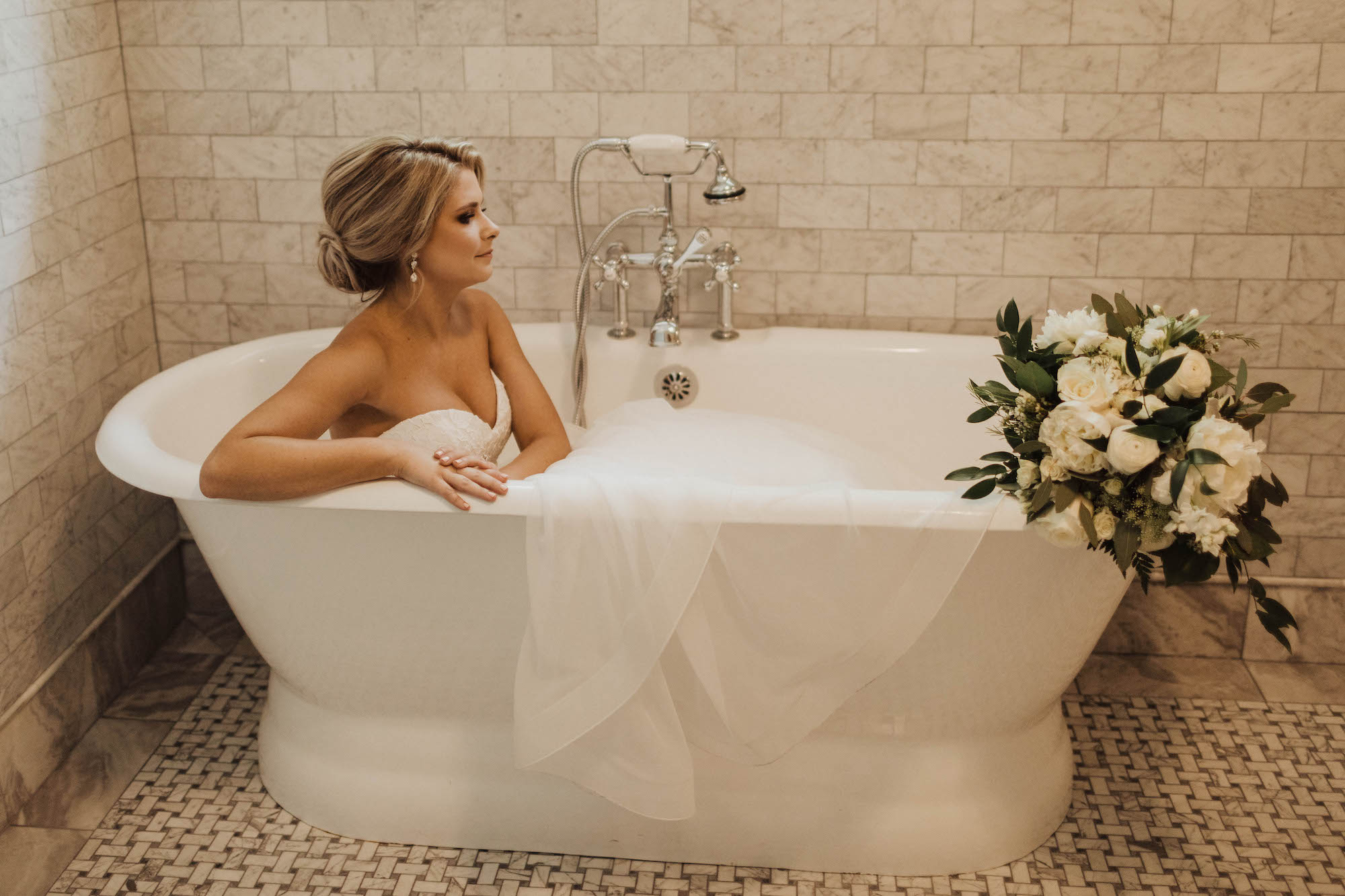 Tampa Bay Creative Bride in Luxurious Free Standing Bathtub with Garden Inspired White Roses and Greenery Eucalyptus Floral Bouquet