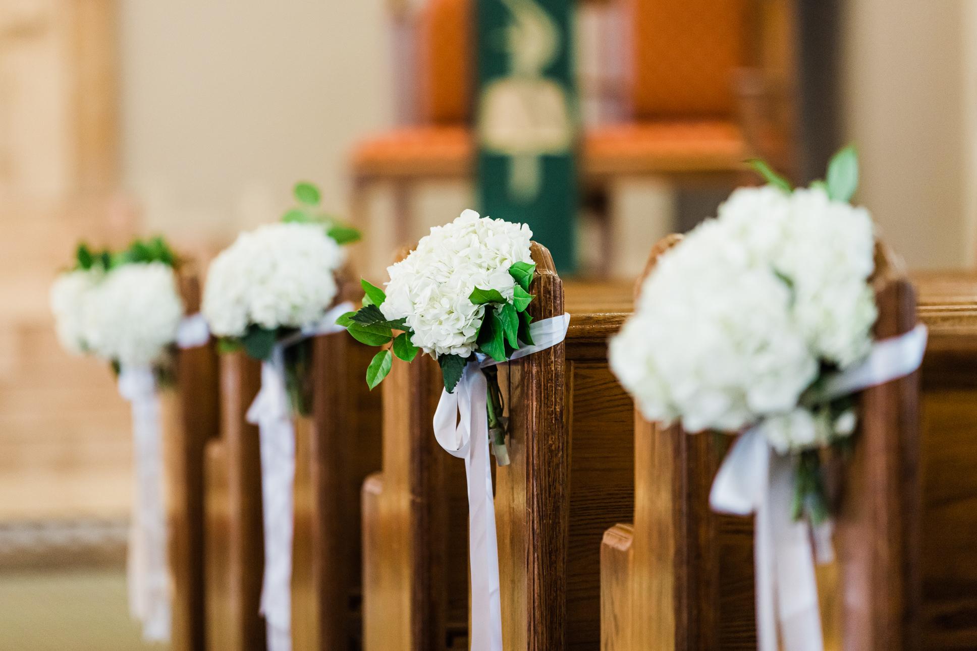 Classic Elegant Wedding Ceremony Decor, White Hydrangea Floral Arrangements on Church Benches