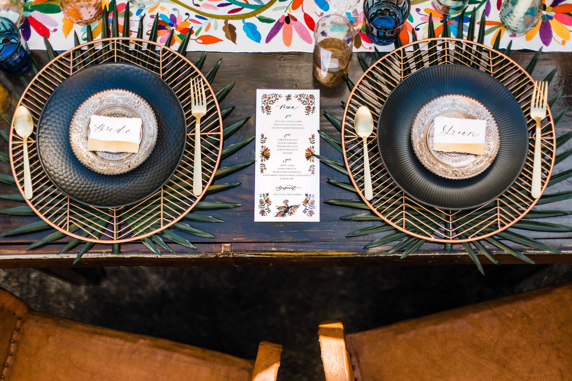 Mexican Inspired Wedding Reception Decor with Modern Geometric Plate Charger with Whimsical Accent Decor