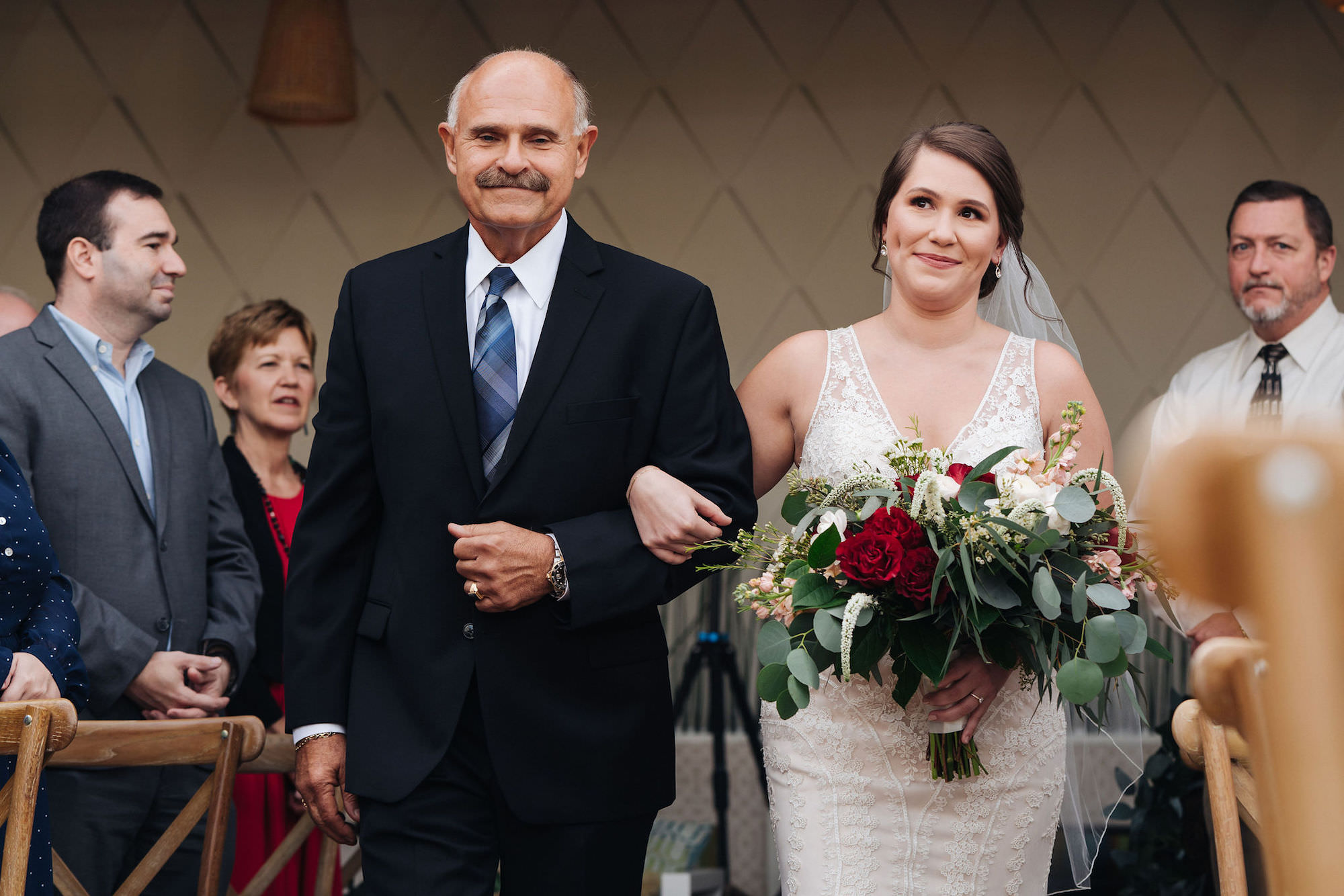 Bride Walking Down Aisle with Father   Lace V Neck Wedding Gown   Blush Red Garnet Greenery Natural Boho Bouquet