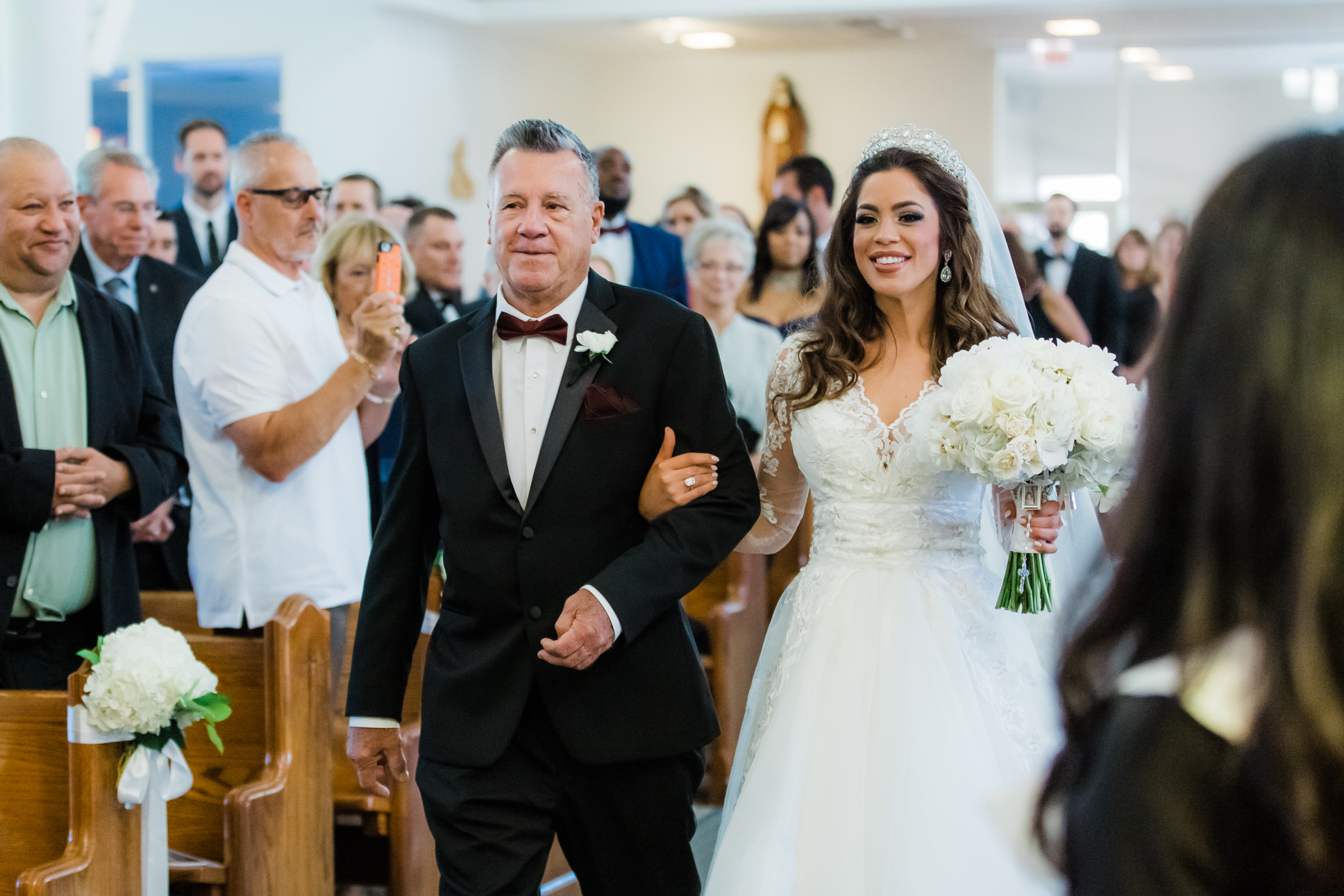 Tampa Bay Bride and Father Processional Walking Down the Wedding Ceremony Aisle Portrait