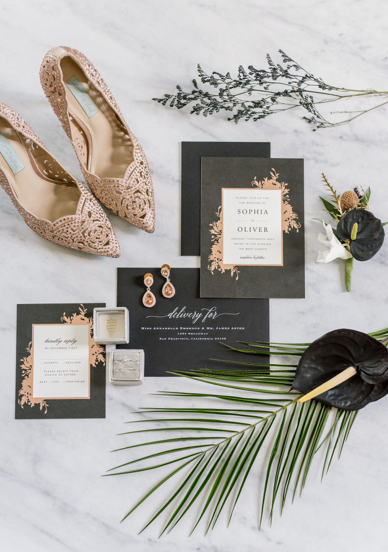 Luxe Romantic Black and Rose Gold Wedding Invitation Suite, Rose Gold Pointed Toe Wedding Shoes | Tampa Bay Wedding Planner Elegant Affairs by Design