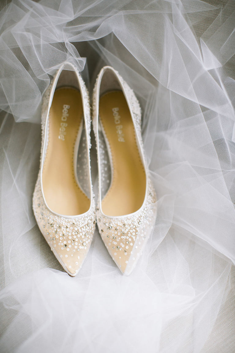 Pointed Toe Illusion and Rhinestone Bride Wedding Shoes