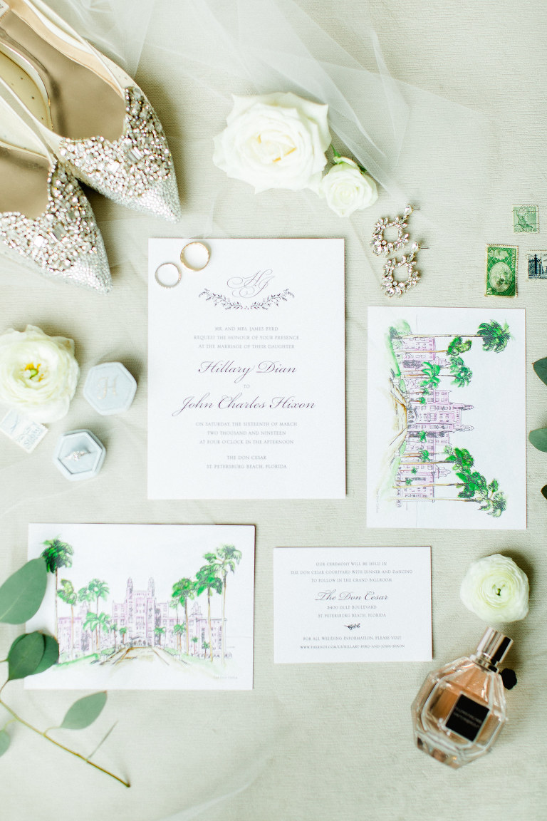 Watercolor Florida Resort Inspired Venue Wedding Invitation Suite | Classic Formal Calligraphy Wedding Stationery Set | Tampa Bay Custom Wedding Save The Date Designer A & P Design Co