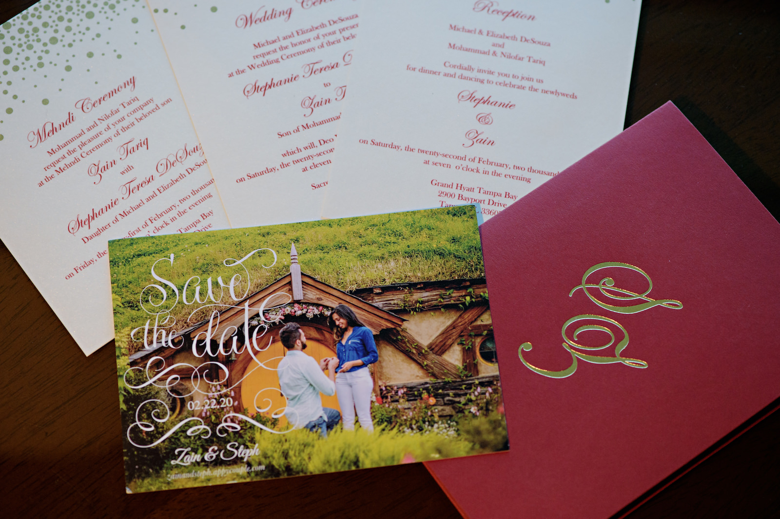 Florida Wedding Invitation Suite, Deep Red Stationary with Gold Foiling, Proposal Save The Date, Indian Mehndi Ceremony