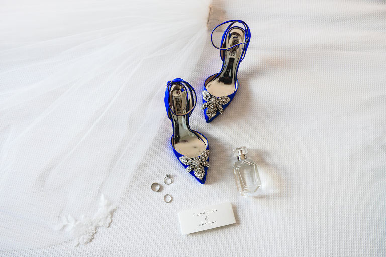 Wedding Something Blue Badgley Mischka Designer Pointy Toe Cobalt Rhinestone High Heel Bride Shoes