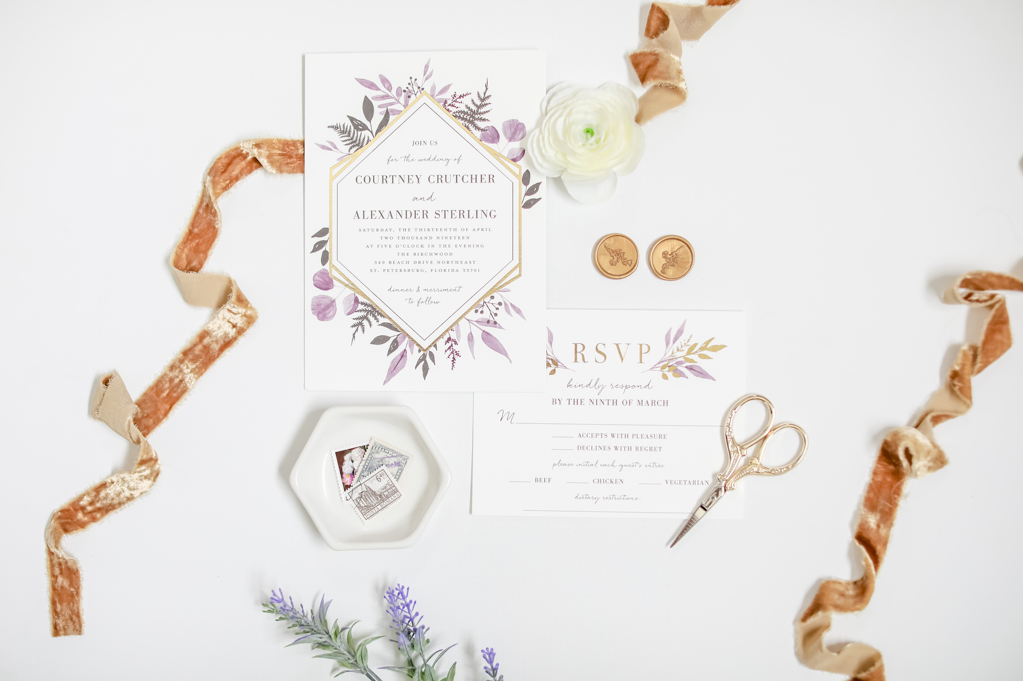 Florida Spring Inspired Wedding Invitation and Stationary Suite with RSVP Card, Mauve, Purple watercolor Floral Design, Gold Geometric Accents   Tampa Bay Wedding Photographer Lifelong Photography Studio   Downtown St. Pete Wedding Planner Blue Skies Weddings and Events