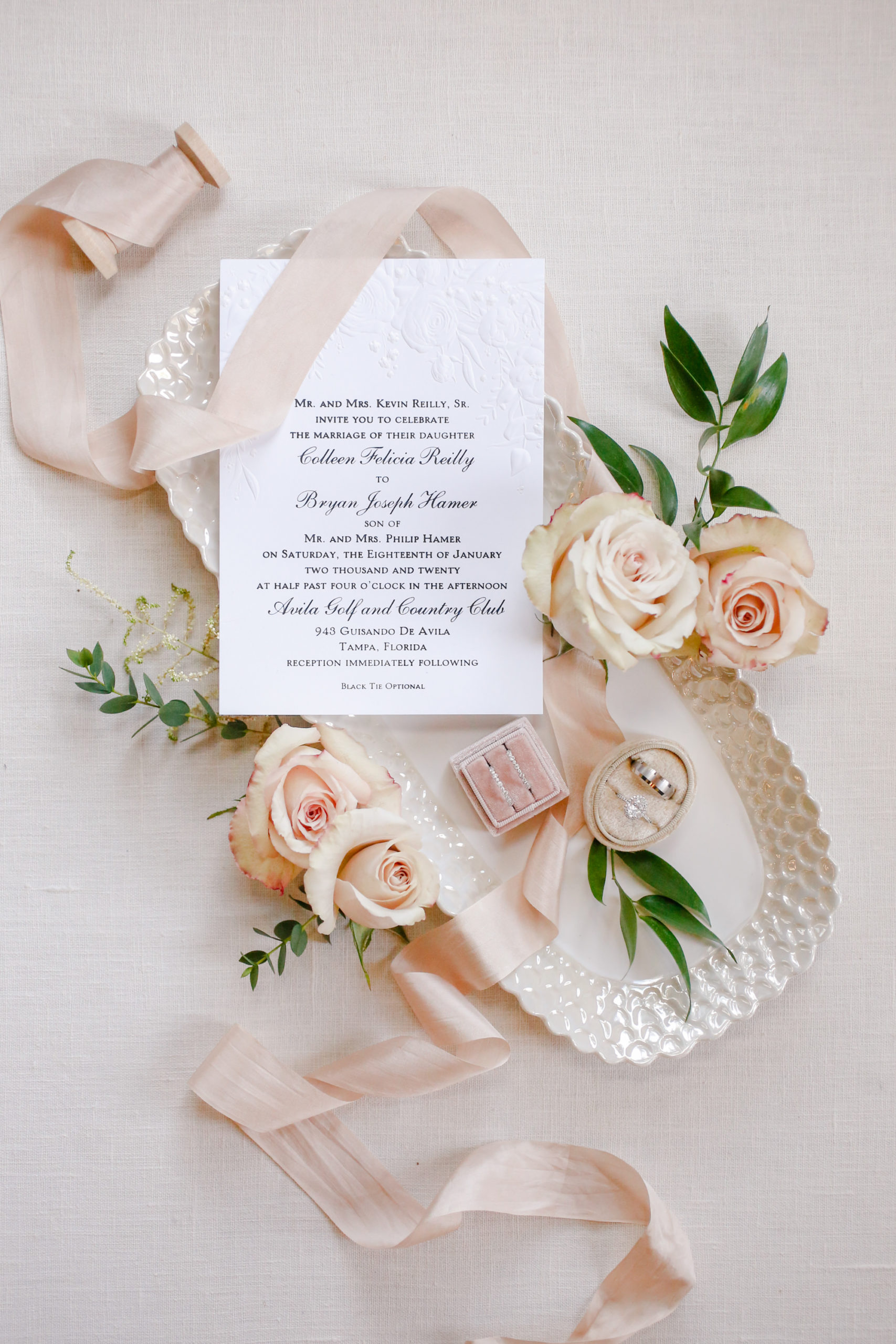 Classic Blush Pink Tampa Wedding Stationery Embossed Invitation Suite with Calligraphy