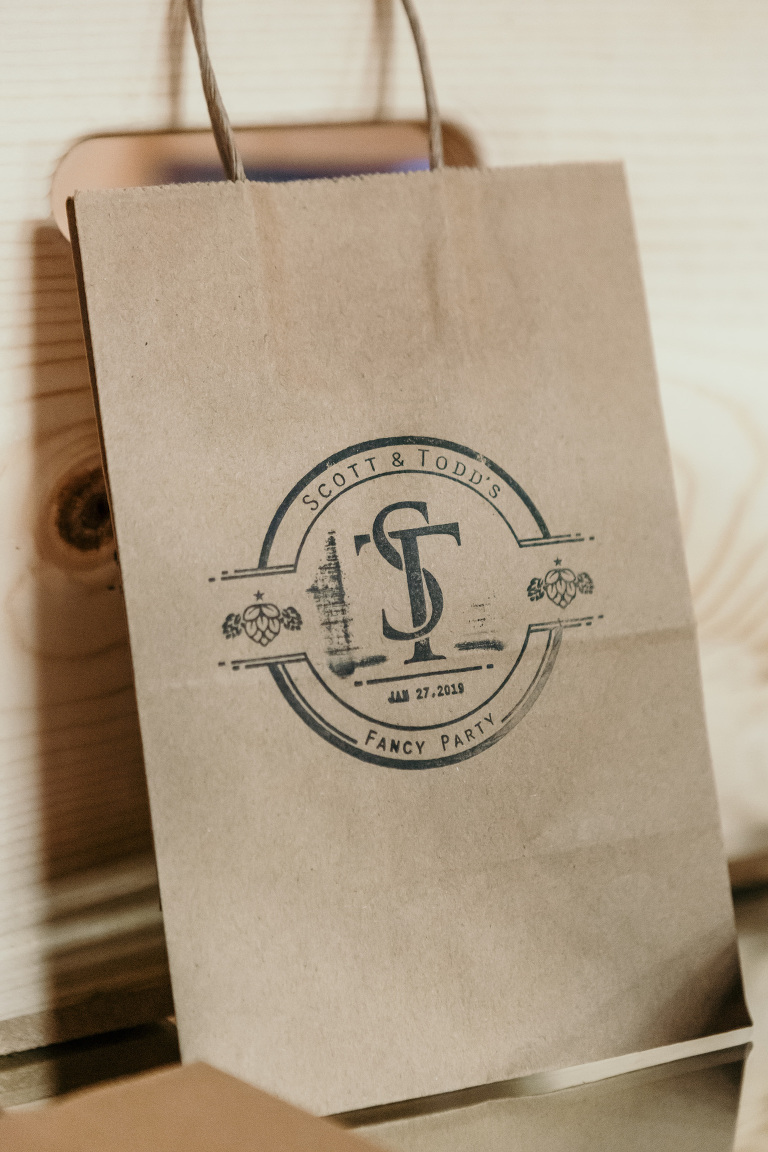 Personalized with Gay Grooms Wedding Monogram Brown Paper Bag Favors