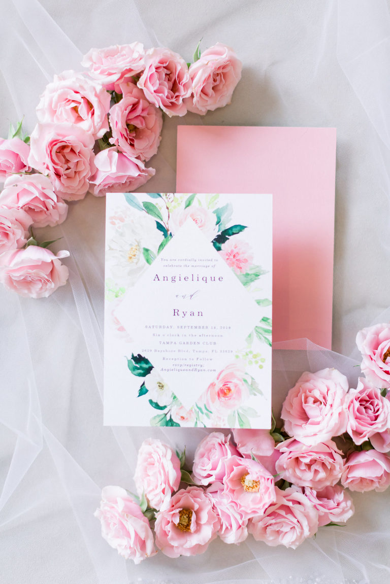 Romantic Pink and Greenery Watercolor Floral Wedding Stationery Invitation   Tampa Wedding Photographer Shauna and Jordon Photography