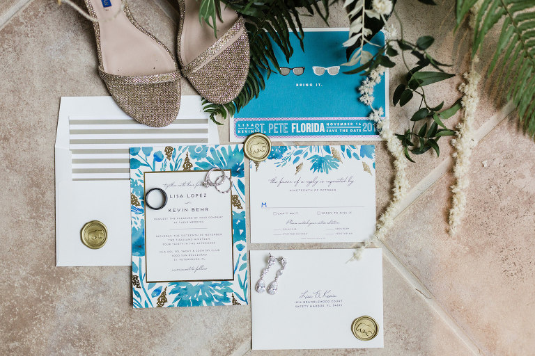 St. Pete Beach Wedding Stationery | Aqua Blue Teal Turquoise Watercolor Wedding Invitation Set with Bear Wax Seals