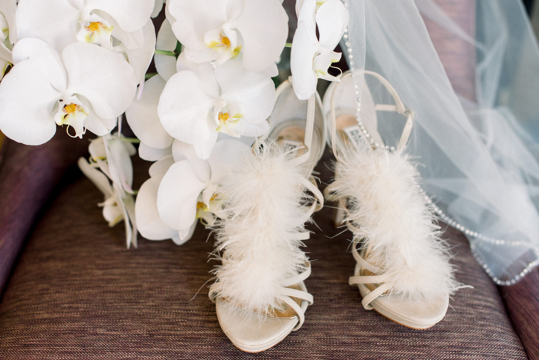Badgley Mischka Feather and Strappy Ivory Bride Wedding Shoes and White Orchid Flowers | Tampa Wedding Planner Special Moments Event Planning