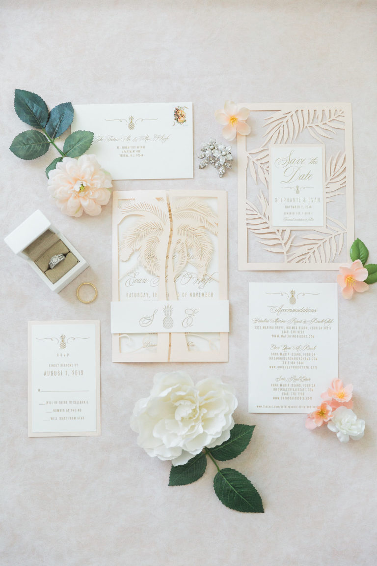 Tropical Florida Pastel Peach and Champagne Wedding Invitation Suite