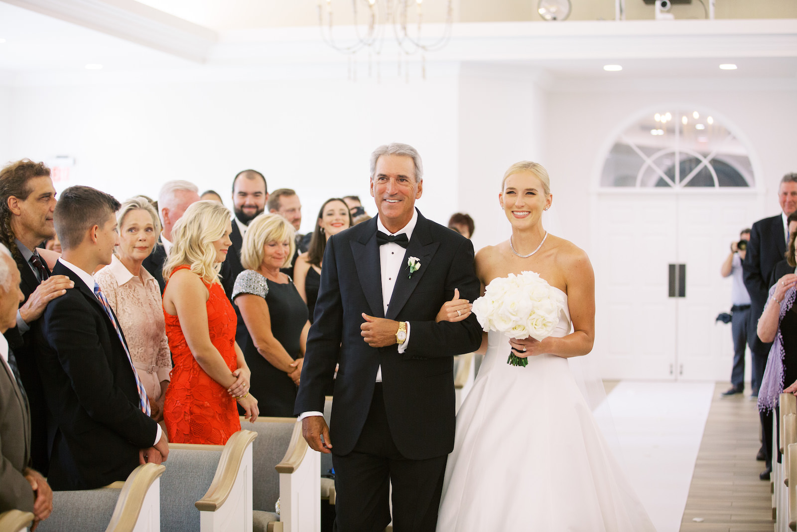 Classic Bride with Father Walking Down the Wedding Ceremony Aisle Portrait | Tampa Bay Wedding Planner Parties A'la Carte | Safety Harbor Church Wedding Venue Harborside Chapel