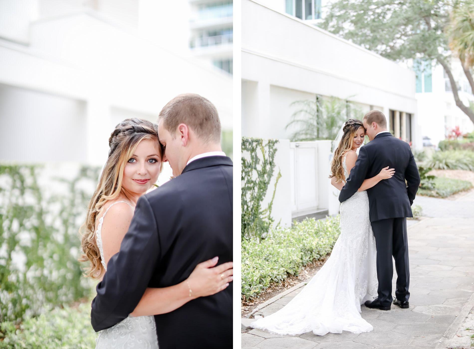 Downtown St. Pete Bride and Groom First Look Wedding Portrait   Florida Wedding Photographer Lifelong Photography Studio   Tampa Bay Wedding Venue The Birchwood