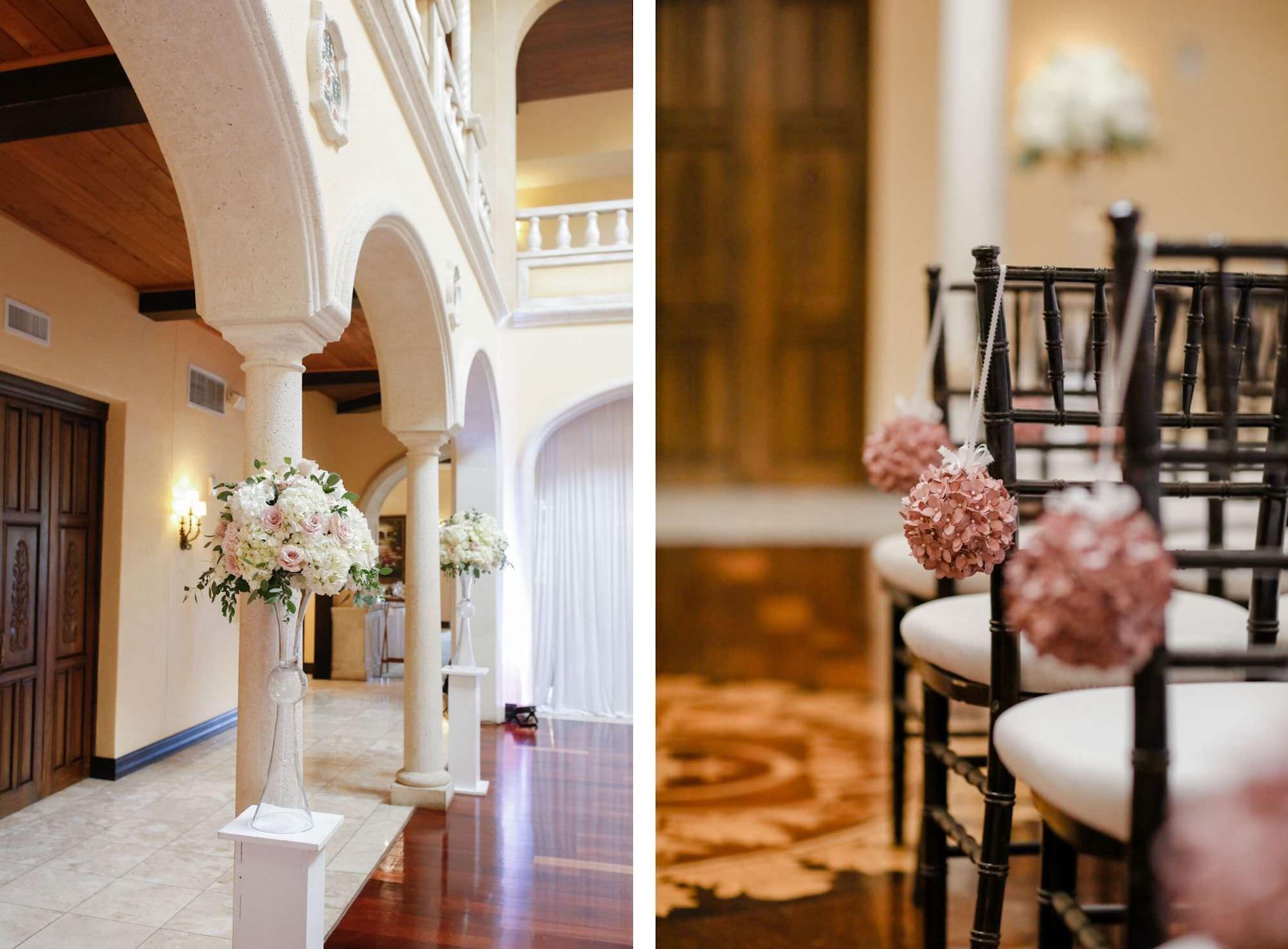 Indoor Ballroom Wedding Ceremony with Black Chiavari Chairs and Blush Pink Dusty Rose Pomander Balls | Tall Wedding Altar Floral Arrangements | Elegant Tampa Bay Wedding Venue Avila Golf & Country Club
