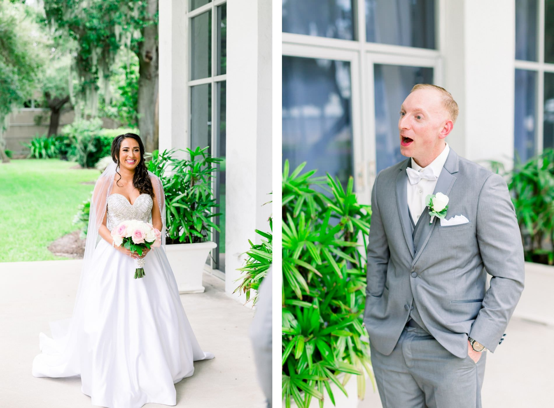 Bride in Romantic Strapless Sweetheart and Rhinestone Bodice Ballgown Skirt Wedding Dress Holding White and Pink Roses Floral Bouquet, Groom in Gray Suit Reaction to First Look Portrait | Tampa Wedding Photographer Shauna and Jordon Photography | Wedding Venue Tampa Garden Club | Wedding Dress Truly Forever Bridal