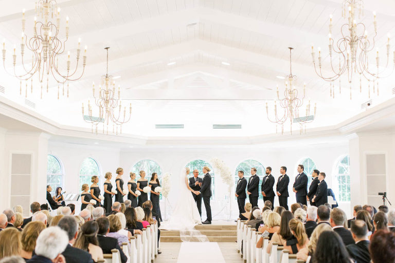Classic Traditional Bride and Groom Exchanging Wedding Ceremony Vows | Tampa Bay Wedding Planner Parties A'la Carte | Safety Harbor Church Wedding Venue Harborside Chapel