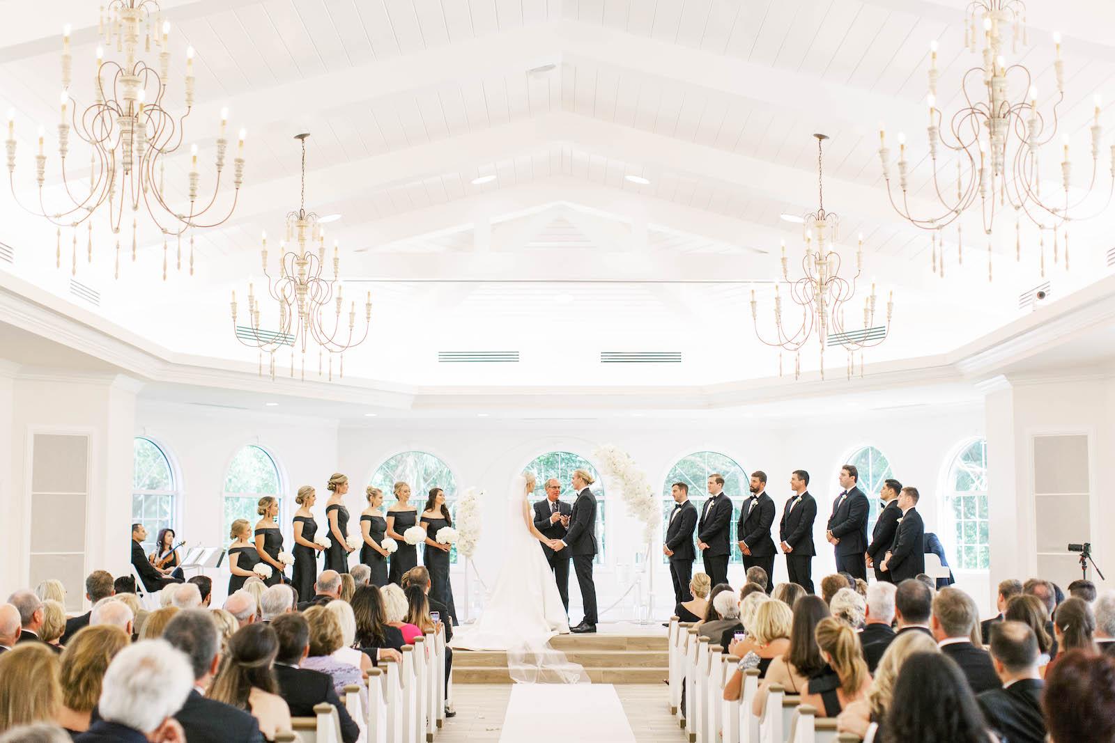 Classic Traditional Bride and Groom Exchanging Wedding Ceremony Vows | Tampa Bay Wedding Planner Parties A'la Carte | Safety Harbor Church Wedding Venue Harborside Chapel