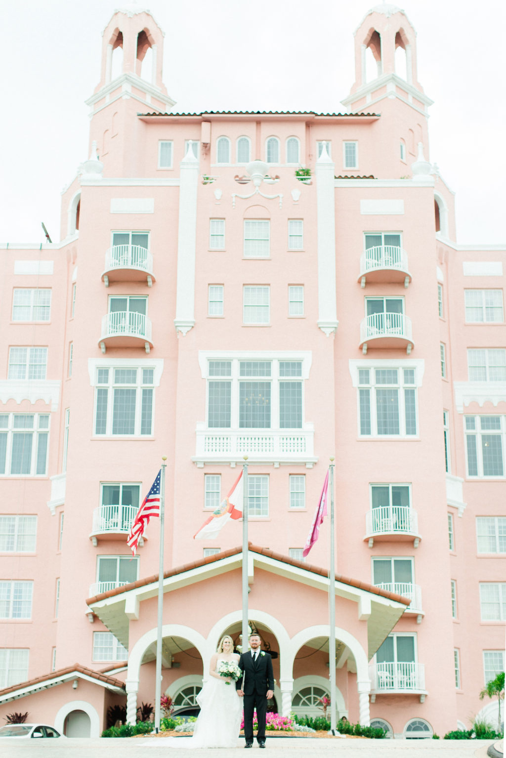 Bride and Groom Outdoor Hotel Portraits | St Pete Beach Wedding Venue The Don Cesar | Pink Palace