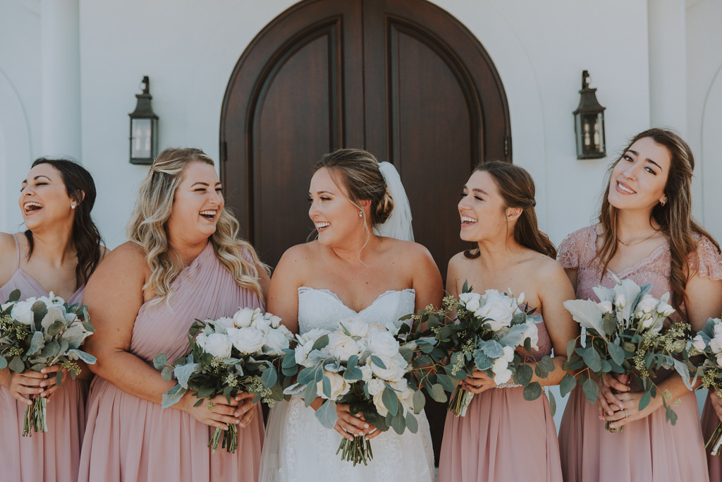 Bride and Bridesmaids Portrait Shot | Blush Pink Dusty Rose Azazie Bridesmaid Dresses | Eucalyptus Greenery and White Rose Bouquets