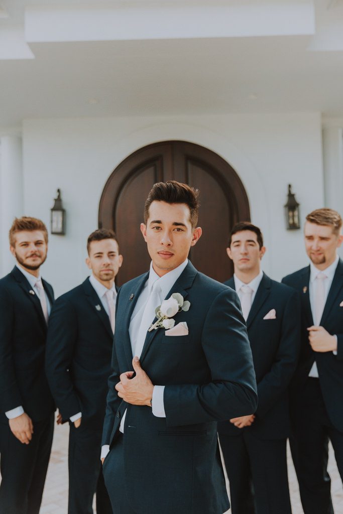Groom and Groomsmen Portraits Shot | Classic Black Suit Tux with White Neck Tie
