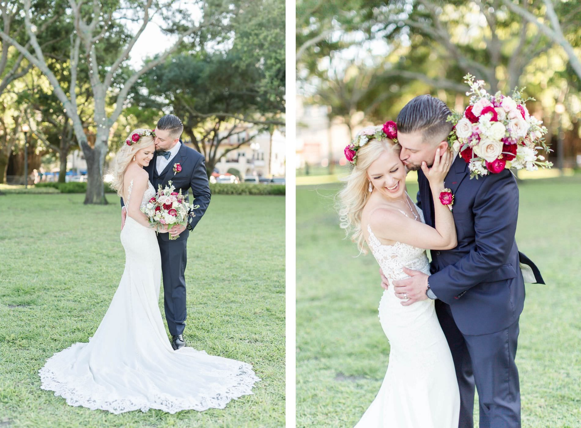 St. Pete Wedding Bridal and Groom Portrait   Stella York Lace Sheath Spaghetti Strap Empire Waist Wedding Dress Bridal Gown   Bride Wedding Bouquet and Halo Crown with Blush Pink Dusty and Burgundy Rose Garden Roses, Snapdragons, Stock, and Eucalyptus Greenery   Groom Classic Black Suit Tux