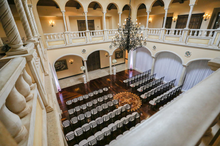 Tampa Wedding Venue Avila Golf & Country Club | Indoor Ceremony with Chiavari Chairs and Chandelier