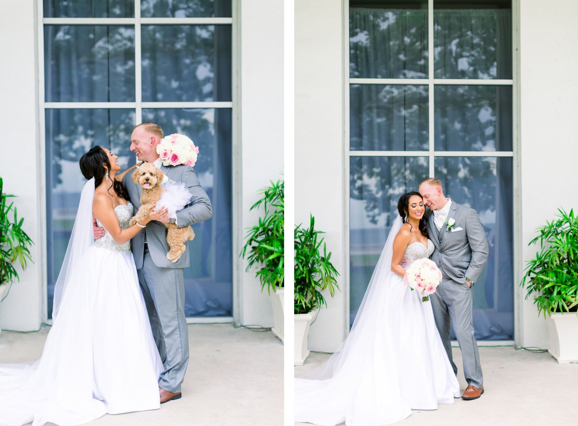 Romantic Bride and Groom Wedding Portrait with Dog Pet Poodle | Wedding Venue Tampa Garden Club | Wedding Photographer Shauna and Jordon Photography | Pet Planner FairyTail Pet Care | Wedding Dress Truly Forever Bridal